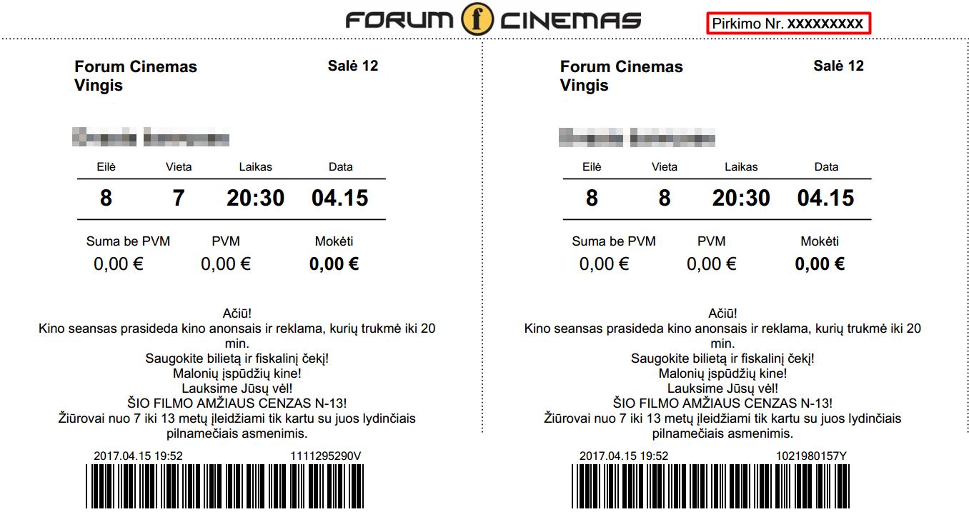 Gauti Sąskaitą Faktūrą Forum Cinemas